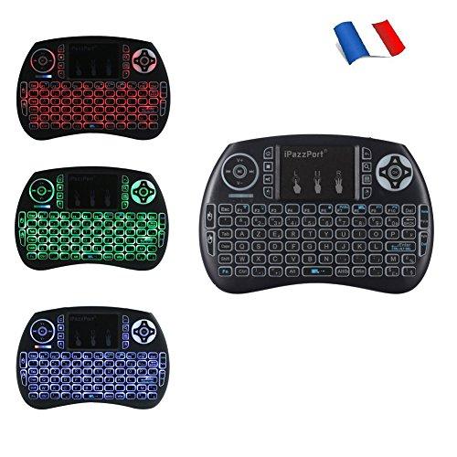 iPazzPort-24Hz-Mini-Clavier-Franais-Sans-Fil-AZERTY-Rtro-clair-Clavier-Mini-Wireless-Keyboard-Rechargeable-avec-souris-Touchpad-Pour-Smart-TV-mini-PC-HTPC-Console-TV-Box-Ordinateur-0