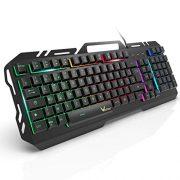 Clavier-Gaming-WisFox-Clavier-Filaire-USB-Rtroclair--LED-Arc-en-Ciel-Color-Clavier-dOrdinateur-Ultra-mince-avec-Panneau-Tout-en-Mtal-avec-Conception-Anti-claboussures-pour-PC-Fans-de-Jeux-0