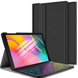ELTD-Clavier-tui-pour-Samsung-Galaxy-Tab-A-101-Pouces-2019-T510515AZERTY-Wireless-Clavier-7-Couleurs-Trois-partition-rtroclair-Clavier-Housse-pour-Samsung-Tab-A-101-2019-T510515-BG-Noir-0