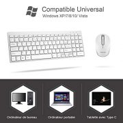 OMOTON-Clavier-sans-Fils-AZERTY-24GHZ-Souris-avec-Rcepteur-USB-pour-Ordinateur-Portable-PC-Windows-XP7810Vista-Blanc-0-0