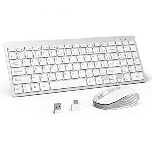 OMOTON-Clavier-sans-Fils-AZERTY-24GHZ-Souris-avec-Rcepteur-USB-pour-Ordinateur-Portable-PC-Windows-XP7810Vista-Blanc-0