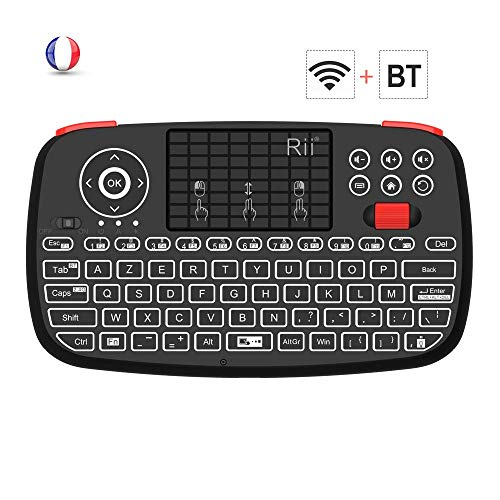 Rii-Nouveau-i4-Mini-Clavier-sans-Fil-Bluetooth-Wireless-24-Ghz-AZERTY-avec-Clavier-rtro-clairTouchPad-pour-iOS-Android-Android-Box-Smartphone-PS4-Xbox-Apple-TV-Tablet-et-PC-0