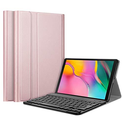 FINTIE-Coque-Clavier-pour-Samsung-Galaxy-Tab-A-101-2019-AZERTY-franais-Modle-SM-T510-SM-T519-Etui-Housse-Cover-en-Cuir-PU-avec-Clavier-Bluetooth-sans-Fil-Amovible-Or-Rose-DEEE-n-M3209-0
