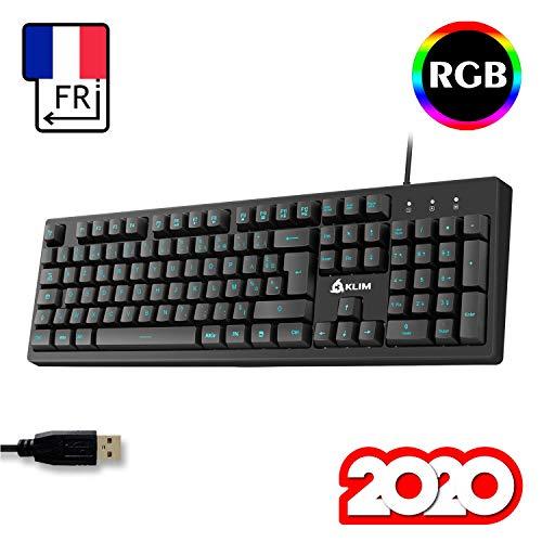 KLIM-Bolt-Clavier-Gamer-AZERTY-FR-Frappe-Rapide-et-Prcise-Clavier-RGB-Filaire-avec-Commandes-Multimdia-7-couleurs-et-3-effets-Compatible-PC-PS4-Xbox-One-Noir-NOUVEAUT-2020-0