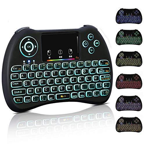 Mini-Clavier-Sans-Fil-Clavier-Franais-Wireless-24GHz-AZERTY-Ergonomique-sans-Fil-avec-cran-tactile-TouchpadRtro-clair-pour-Smart-TV-Android-TVBox-PC-Ordinateur-Projecteur-etc-Noir-0