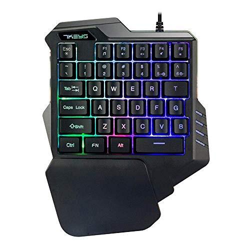 UrChoiceLtd-Clavier-de-Jeu-USB-G30-cbl-35-Touches-Rainbow-LED-rtro-clair-Mini-Clavier-de-Jeu-Portable–Une-Main-Conception-Ergonomique-avec-Repose-Poignet-pour-Ordinateur-Portable-PC-Noir-0